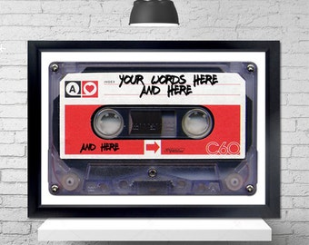 Personalized Mixtape Poster - love songs, valentines, cassette tapes