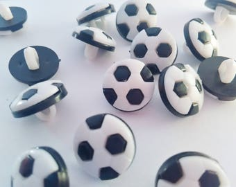 """10 Football Buttons 12mm (1/2"""") Black and White Football Shank Sewing Buttons, Boys Sports Clothing Notions, Sewing Children's Accessories"""