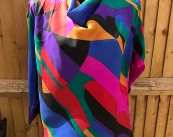 Vintage original 1980s blouse top abstract print advant garde retro