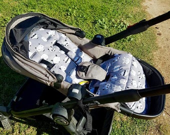 Custom made City select baby jogger pram liner and optional strap covers.