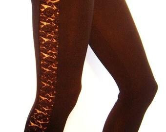 Black cotton leggings with a lace strip,  yoga, gym pants,  cropped leggings, fitness, long leggings, short leggings, beach, women,  sports.