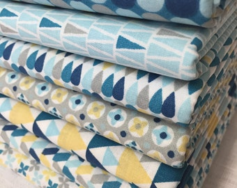 Lot of 7 patches patchwork fabric BLUE 50 x 50 cm
