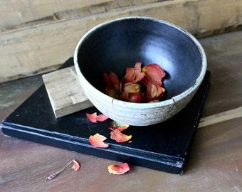 Wood Fired Porcelin Slip Bowl with Black Interior
