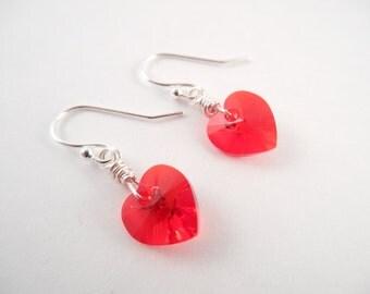 Red Heart Earrings - Swarovski Red Heart Silver Plated Valentine Dangle Earrings