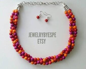 Statement Necklace, Orange Necklace, Red Necklace, Purple Necklace, Colorblock, Multi Strand Necklace, Bib Wedding Jewelry