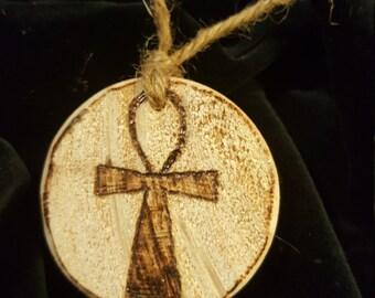 Ankh Wood Burned Pendant on twine old world style