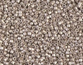 11/0 Galvanized Semi Frosted Light Smoky Amethyst Miyuki Delica-1158, DB1158, Delica 1158, 6 Grams