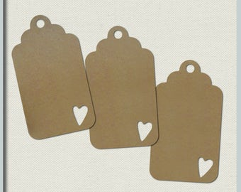 Brown kraft hang tags - Price tag label - Brown scallop tag - Brown Kraft tags - Wedding favour tags - Recycled card - Plain kraft brown tag