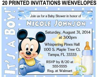 20 Baby Mickey Mouse Baby Shower Invitations With Envelopes   FREE SHIPPING