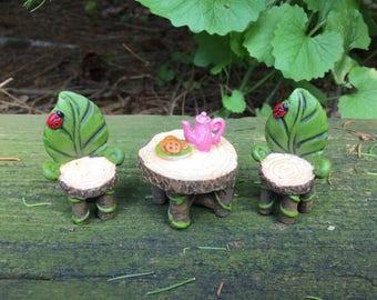 Fairy Garden Leaf Chair and Table Set With Teapot - Fairy Garden Accessories -Garden Miniatures - Miniature Garden - Dollhouse Garden