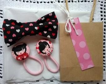 Girl's Hair Gift Set, Clip On Bow, Hair Elastics, Pink Hearts Hair Bow, Girl's Gift Pack, Fabric Hair Clip, Girls Hair Accessories, Hair Tie