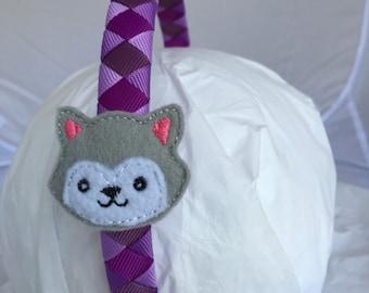 Headband- husky Headband - purple Headband- gift for girl- stocking stuffer- puppy headband- gray husky- husky dog