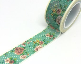 Flowers on Dotty Teal Washi Tape Shabby Chic 20mm x 5m