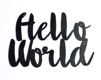 Wood 'Hello World' Sign for Nursery and Baby Shower.