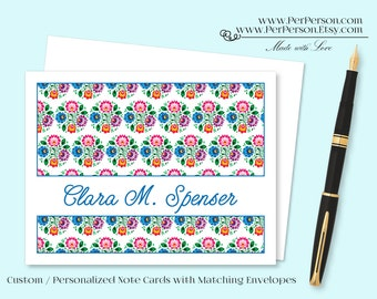 Free Ship!  Set of 12 Personalized / Custom Notecards, Boxed, Blank Inside, Floral, Flowers, Blue, Purple, Pink, Green, Monogram, Name