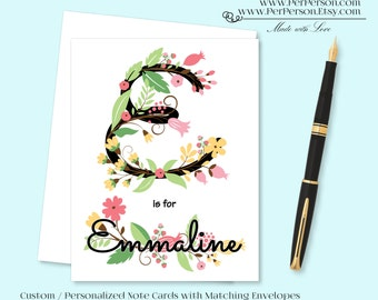 Free Ship!  Set of 12 Personalized / Custom Notecards, Boxed, Blank Inside, Floral, Flowers, Monogram, Name, Alphabet, Initials