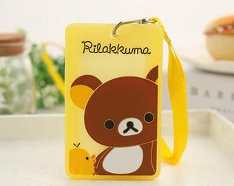 Kawaii Cartoon Rilakkuma Lanyard Silicone Badge / Bank / Bus/ Credit Card / ID Holders