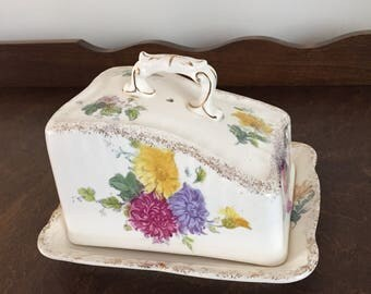 Antique Bonn Germany Frank Anton Mehlem Porcelain Covered Cheese dish from the late 1800's