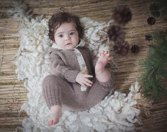 Beige children overalls / Hand knitted Alpaca pants / Girls winter pants / Toddler winter trousers