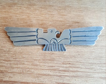 "Vintage Sterling Silver Thunderbird Pin Brooch Fred Harvey Era 3"" Wide"