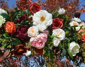 Wedding Arch, Wedding Archway Swag, Wedding Ceremony Swag, Wedding Arch flowers, Peony Rose Arch, Coral Arch, Mantle Swag