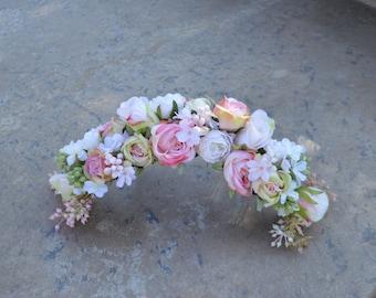 Flower crown, Wedding Flower Hair Crown, Wedding Flower Hair Accessory, Flower Girl Hairpiece, Brides Hairpiece, Floral Comb, Brides Comb
