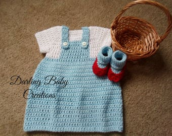 Crochet Dorothy Wizard of OZ Set Costume:  Includes Dress & Booties.   Sizes Newborn-12 Mths. Great For Halloween!