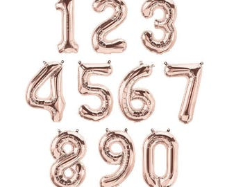 """16"""" Rose Gold Foil Number Balloons """"Same Day Shipping"""""""