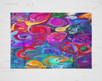 Throw Rug, Area Rug, Colorful Funky Abstract