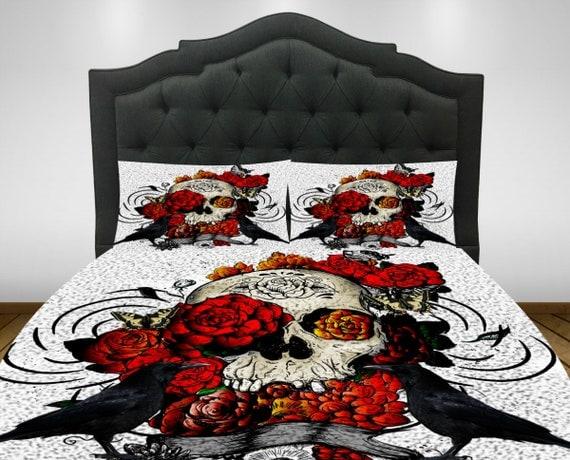 skull bedding duvet comforter cover set sugar skulls