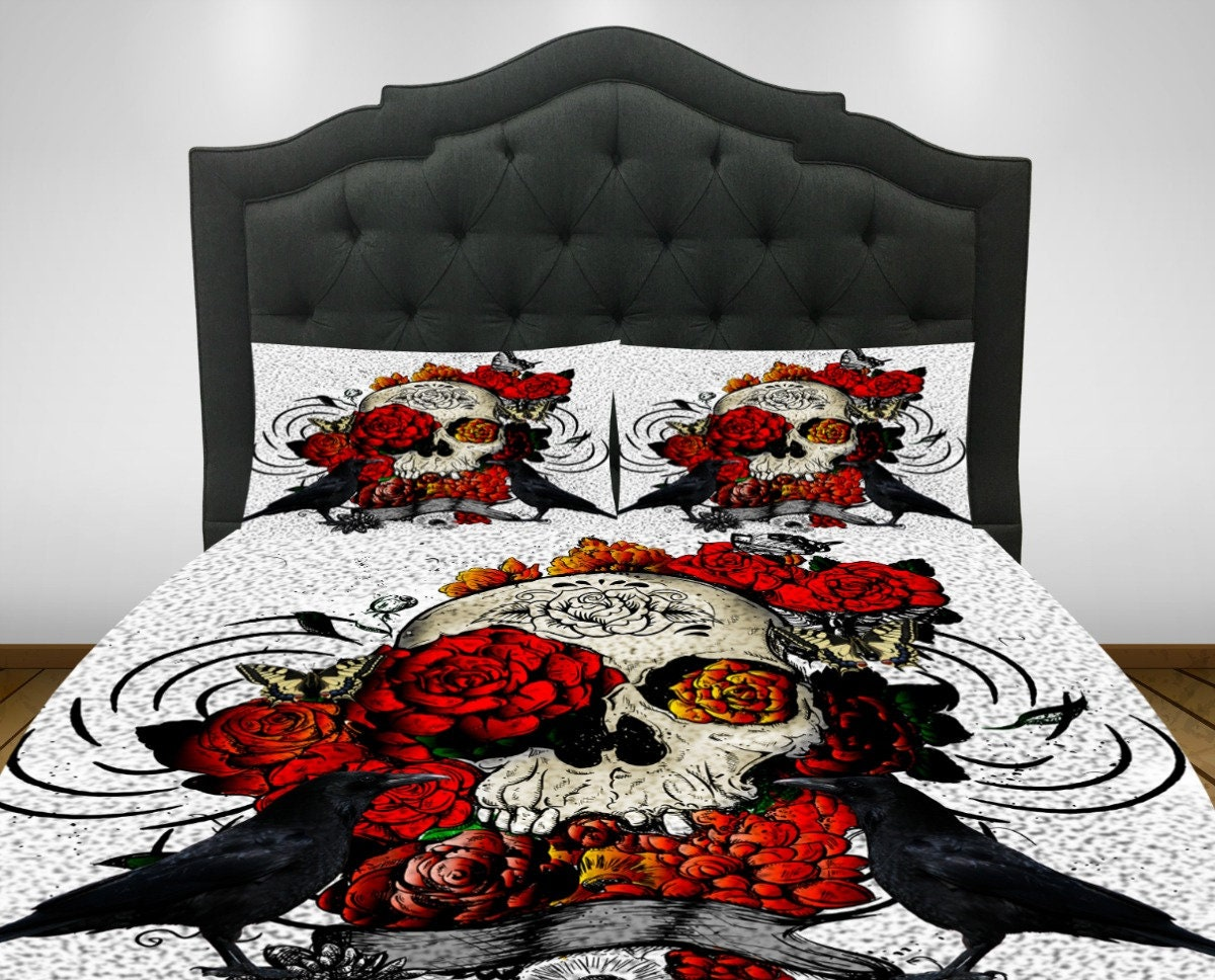 Skull Bedding, Duvet Comforter Cover Set, Sugar Skulls