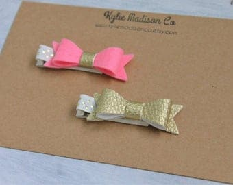 pink and gold petite bow clips, set of 2, baby hair clips