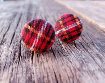 Preppy tartan plaid Cufflinks - red and black plaid - cuff link accessories for men