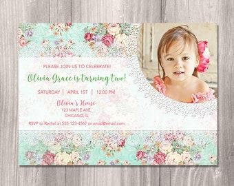 Shabby Chic Birthday Invitation, Princess Garden Tea Party, girl birthday invitation, Tea Party, Floral Lace Pink, printable invitation
