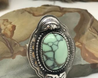 Poseidon Variscite Stamped and layered silver ring. Sterling silver.