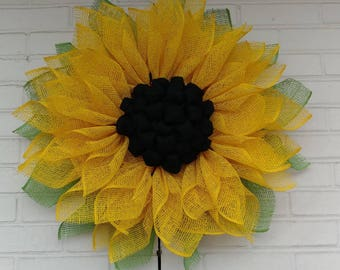 Yellow Poly Burlap Sunflower Wreath with Black Burlap Center