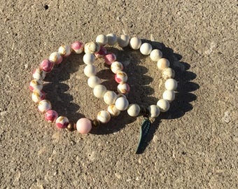 Shabby Chic Bracelets/ Angel Wing/ Vintage Pink and white