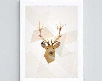 "Displays ""Geometric deer"" - Format A4"