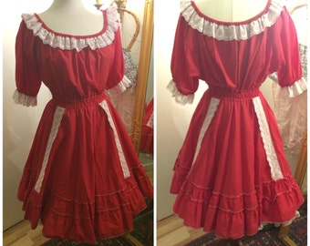 1960s two piece dress, square dance, western, retro, skirt and top, full skirt, 70s, xl, extra large, plus size
