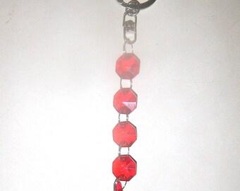 Crystal Prism Beaded Keychain Suncatcher/Window Hanging Decor - Red