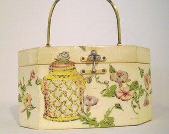 Vintage ANNIE LAURIE ORIGINALS Palm Beach Box Purse Ca. 1950's-60's~ Wooden Decoupage Handbag/Purse/Makeup Case/Sewing Kit In: Junk Mans Gal