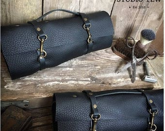 Leather Wash Bag Roll, Black Leather Toiletry Bag, Leather Dopp Kit, Tool Kit, Dad Gift, Leather Roll, Fathers Day Gift, Husband Gift