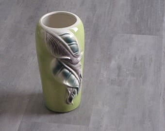 Vintage Lime Green Leaf Vase