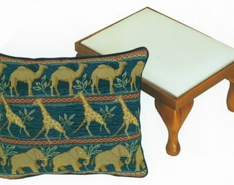 TP 034 Safar Animals Walking Right Tapestry Needlepoint Footstool Top or Cushion Kit