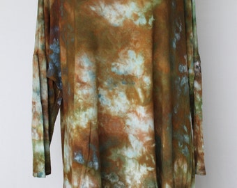 Tie dye Women's 3/4 sleeve tunic blouse Ice Dyed - Size 1XL - Wilderness crinkle