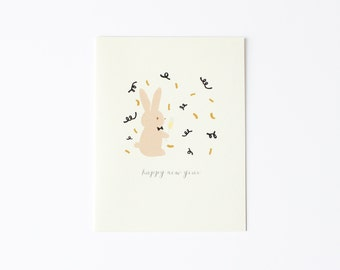 Happy New Year Bunny Card, Happy New Year Card, Happy New Year's Card, Bunny New Year Card, Card for New Year, Card for New Year's
