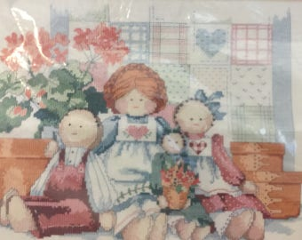 Counted Cross Stitch Kit, Family of Dolls, Dimensions 3649 ,Vintage 1980's, Needlework Picture, Doll Picture, Needlework Kit,Rag Dolls