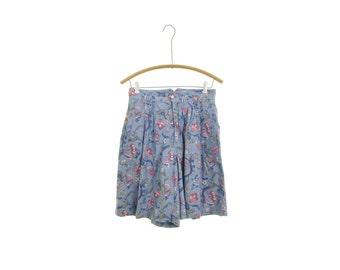 80s floral shorts chambray shorts high waisted shorts vintage 80s shorts blue shorts preppy shorts mom shorts hipster shorts grunge shorts