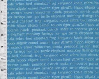 Riley Blake Zoofari Animal Words Blue Fabric