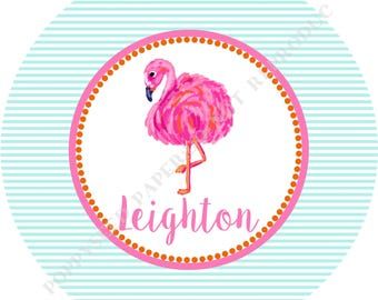 Lilly Pulitzer flamingo plate - Flamingo plate- Personalized melamine plate- Personalized plate- Kids plate- Personalized with name